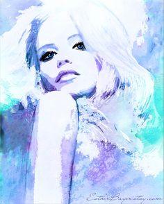 Aqua Blue Hues 2  Watercolor Fashion Illustration by EstherBayer, $33.50