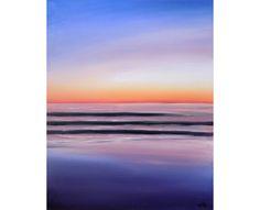 Sunset Painting, Original Art, Oil Painting, 16 x 20, Abstract Art, Beach House Art, Ocean Painting, Landscape Painting, Beach Painting by CFineArtStudio on Etsy