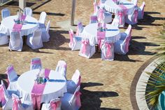 Pink beach wedding reception in Panama City Beach Florida by Princess Wedding co