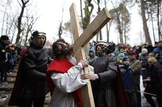 Kacper Pempel / Reuters  Polish catholic devotees re-enact out the Way of the Cross on Good Friday as part of Holy Week celebrations at the Kalwaria Wejherowska near Gdansk, northern Poland March 29, 2013. Holy Week is celebrated in many Christian traditions during the week before Easter.