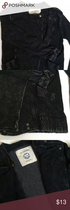 LA Hearts Jacket Black sweatshirt material intended to look like denim. Super soft. Never worn. Size small. PacSun Tops Sweatshirts & Hoodies