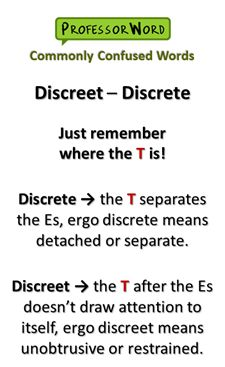 The English language is full of confusing homophones - including these two SAT vocabulary words: discrete vs. discreet. Check out our tip on how to remember which is which! #vocabulary #vocab #words #learn #English #SAT #ACT
