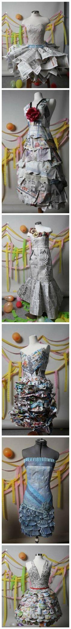 Newspaper prom dresses-Repurposed fashion