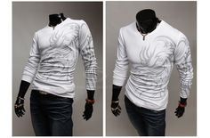 Special Tattoo Print Round Neck Long Sleeve T-Shirt For Men (WHITE,2XL) China Wholesale - Sammydress.com