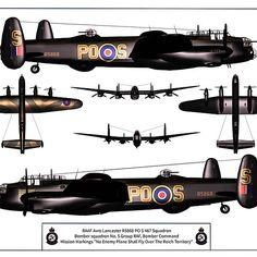 1941-1963 Avro Lancaster. Heavy Bomber RAF, RCAF, RAAF. Engine: 4 x Rolls-Royce XX liquid-cooled V12 engines (1,280 hp) Armament: 2 x Browning .303 Mk II machine guns (nose), 2 x Browning .303 Mk II machine guns (upper turret), 4 x Browning .303 Mk II machine guns (rear turret) Bombs: 14,000 lb max, or 22,000 lb Grand Slam. Max speed: 282 mph (246 km/h)