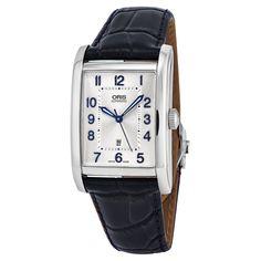 19713c0dafd Oris Men  01 561 7692 4031-07 5 18 25FC  Rectangular  Silver Dial Blue  Leather Strap Swiss Automatic Watch