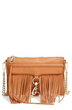 "Rebecca Minkoff ""Fringe Mini MAC Convertible Crossbody Bag"" in Cognac."