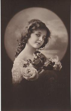Knowing smile, beautiful girl, vintage child, vignette portrait, sepia photo, monochrome, journal supply, real vintage photo (rppc/ch360)