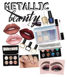 """""""Shine on: metallic makeup"""" by darling-ange1 ❤ liked on Polyvore featuring beauty, Lime Crime, Anastasia Beverly Hills, Essie, OPI, Balmain, Lancôme, Urban Decay and Witchery"""