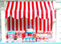 Darling vintage circus birthday-someday one of my kids will have a circus party! Party Kulissen, Birthday Party Celebration, Carnival Birthday Parties, Circus Birthday, Party Guests, Birthday Party Themes, Party Ideas, Themed Parties, Birthday Ideas