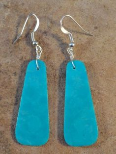 Native American Indian Lovely Turquoise Slab Earrings $18.00