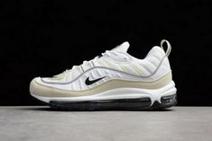 New Mens and WMNS Nike Air Max 98 Sail White Black-Fossil-Reflect Silver 53976957e