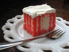 This is the moistest cake you will ever eat. I love it with strawberry jello and garnished with fresh strawberries. The Cool Whip makes such a pretty pure white and creamy frosting. It was my moms favorite birthday cake. Prep time is also chill time