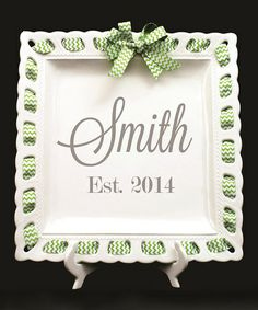 Another great find on #zulily! Green Ribbon Personalized Platter #zulilyfinds