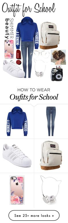"""""""Outfit for School"""" by ava-josephine on Polyvore featuring 7 For All Mankind, New Look, adidas, JanSport, Casetify, Skinnydip, Polaroid, denim and Silver"""