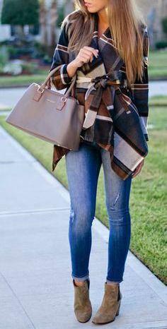 Ankle boots + plaid coat.