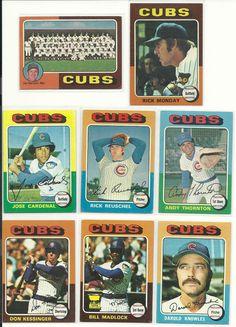 1975 Vintage Topps CUBs team 27 cards set lot Monday Madlock Kessinger Reuschel  #ChicagoCubs