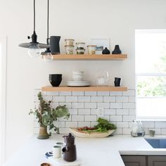 5 Fabulous Unique Ideas: How To Decorate Floating Shelves Woodworking floating shelves living room.Floating Shelf With Pictures Photo Ledge long floating shelf interior design.How To Decorate Floating Shelves Woodworking. Kitchen Furniture, Kitchen Decor, Kitchen Ideas, Office Furniture, Furniture Buyers, Furniture Cleaning, Furniture Market, Kitchen Trends, Kitchen Gifts