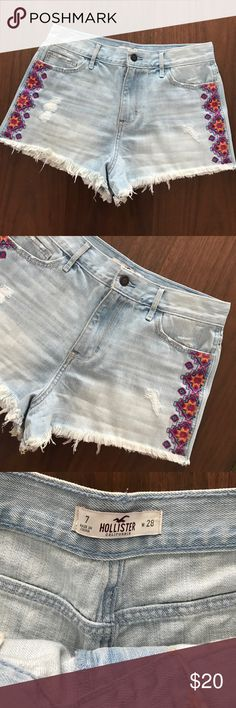 Hollister denim cut offs So cute!  Excellent condition!  Embroidered with an Aztec design. Hollister Shorts Jean Shorts