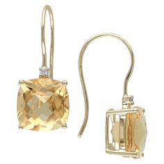 Allura 8 CT. T.W. Citrine and 0.02 CT. T.W. Diamond Shepard Hook Earrings in 10k Yellow Gold (GH I2:I3), Women's