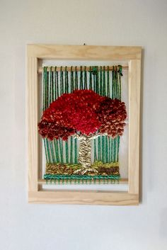 telar mural abstracto Loom Weaving, Hobbies And Crafts, Tree Of Life, Basket Weaving, Knit Crochet, Wall Decor, Tapestry, Diy Crafts, Crafty