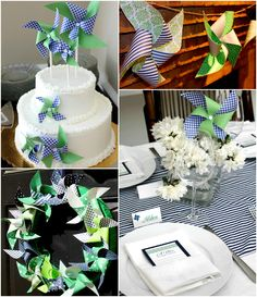 Navy & Green {PINWHEEL} Baby Shower - all pinwheels homemade.  So classy! this would be cute for girl or boy...but pink pinwheels if girl and more blue and grey for boy! <3