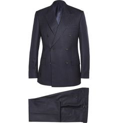 Kingsman Navy Double-Breasted Pinstripe Suit | MR PORTER
