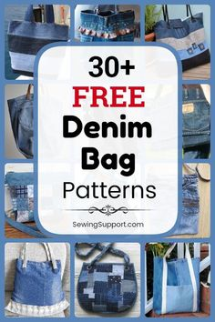 Denim Bag Patterns, Bag Patterns To Sew, Sewing Patterns Free, Sewing Projects For Kids, Sewing Crafts, Kids Messenger Bags, Sewing Machine Quilting, Denim Crafts, Couture