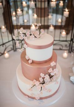 cherry blossoms and rose gold wedding colors inspiration, spring wedding cakes country Plain Wedding Cakes, Floral Wedding Cakes, Wedding Cake Rustic, Wedding Cupcakes, Gold Wedding, Wedding Shoes, Strawberry Wedding Cakes, Cherry Blossom Wedding, Cherry Blossoms