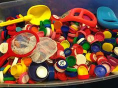 collect milk lids for the sensory tub.