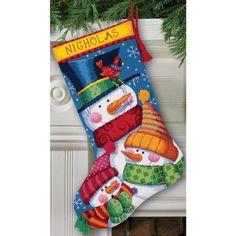 "Needlepoint Christmas STOCKING KIT Freezin Season Dimensions 16"""