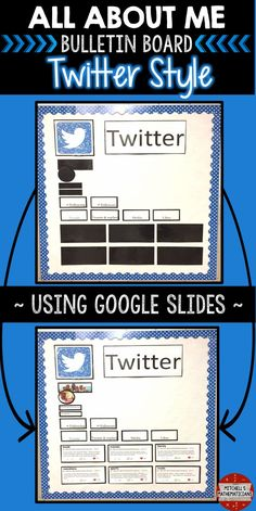 Check out this fun way to create a bulletin board using social media. This digital, All About Me Twitter bulletin board, is editable for your students through Google slides. There are 10 different post options for your students to choose from. They will edit the slides and then print off the pages for you to display on your bulletin board.