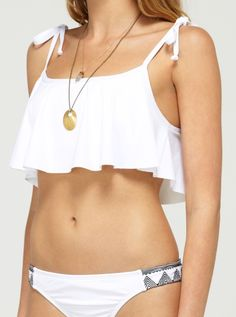Radiate Love Tie Tank Bikini Top - Roxy. I love this but not in white.  Black or a bright color would be much better