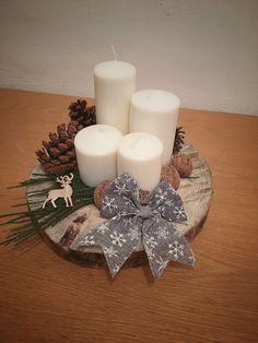 """""""Adventní věnec""""/ Vánoce/ Svíčky Pillar Candles, Paper Crafts, Christmas, Diy, Xmas, Craft, Easter, Crowns, Tissue Paper Crafts"""