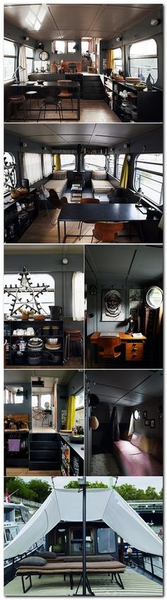 Paris Central - Houseboat Style I have always wanted to spend some time on a houseboat and a houseboat in Paris seems fabulous! Living On A Boat, Tiny Living, Living Spaces, Boat Interior, Interior Design, Interior Ideas, Houseboat Living, Mini Loft, Compact Living