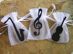 Music party supplies theme Favor bags 10 by FavorsByGirlybows, $11.00