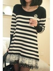 Korean Style Stripe Lace Spot Leaf Knit Dress Black US$ 14.75 http://www.global-wholesale.net/Korean-Style-Stripe-Lace-Spot-Leaf-Knit-Dress-Black_g33154.html