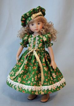 Christmas Dress and Hat for 13 Inch Effner's Little Darling Dolls