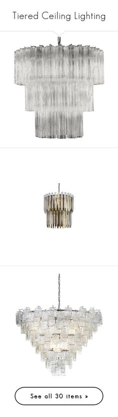 """""""Tiered Ceiling Lighting"""" by lovekhrys ❤ liked on Polyvore featuring home, lighting, ceiling lights, chandeliers, clear, chain lighting, murano glass lamp, tube lights, tubular lighting and murano glass lighting"""