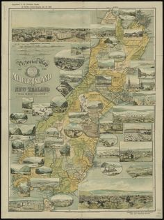Pictorial map of the Middle Island of New Zealand compiled from the latest government maps and statistical records. Middle Island, Nz History, Pictorial Maps, Cartography, Map Art, New Zealand, Vintage World Maps, Canterbury, Globes