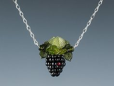 Single Blackberry and Leaves Necklace by GlassBerries on Etsy.  $150.