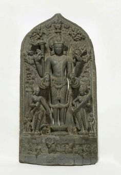 The Hindu deity Vishnu with the goddesses Lakshmi and Sarasvati  Place of Origin: Bangladesh, Dhaka District  Date: approx. 1100-1200  Materials: Stone  Style or Ware: Pala