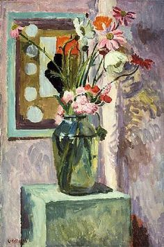 Flowers in a Glass Vase with Abstract Needlework Design - Vanessa Bell (1879-1961)