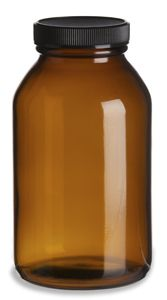 Specialty Bottle - 500 cc Glass Amber Packer with Black Cap, $1.00 (http://www.specialtybottle.com/glass-bottles/pharma-vitamins/500cc-gpa500b)