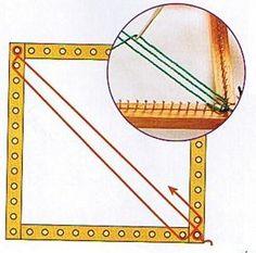 Textiles Cachicadán: Telar Cuadrado - Cojin Matizado