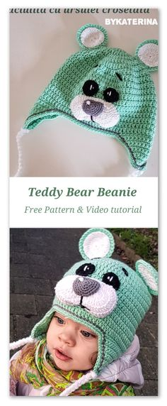 Watch This Video Incredible Crochet a Bear Ideas. Cutest Crochet a Bear Ideas. Crochet Bear Hat, Crochet Animal Hats, Crochet Baby Hat Patterns, Crochet Kids Hats, Crochet Beanie Pattern, Crochet Teddy, Free Crochet, Booties Crochet, Crochet Character Hats