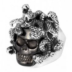 King Baby - Medusa Skull Ring with Carved Jet King Baby Jewelry, Biker Rings, Cyberpunk Fashion, Stylish Rings, Designer Clothes For Men, Fashion Jewelry, Men's Jewelry, Jewlery, Jewelry Watches