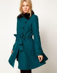 This jewel-toned overcoat from ASOS is bang on trend and we love the fur collar. It comes in black too!