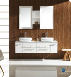 Use the fencing wood on one of the bathroom walls and then contrast it with the clean white vanity, countertop bowl(s) and modern faucets