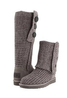 UGG Classic Cardy Boots in Gray - Three oversized wood buttons allow the boot to be worn up, slouched down, slightly unbuttoned or completely cuffed down. Ugg Snow Boots, Ugg Boots Sale, Ugg Boots Cheap, Ugg Winter Boots, Mens Snow Boots, Ugg Classic Cardy, Uggs For Cheap, Knit Boots, Women's Boots
